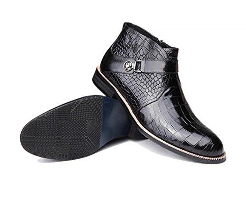 WZG Nueva Inglaterra otoño e invierno zapatos retro botas de Martin botas botas de los hombres de los hombres redondos botas botas de cuero señalaron los zapatos de marea Black