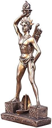 LUSU Decorativos Figuras Salon Candelabros De Jardin Exterior Miniatura La Figura De Adornos Artesanales Retro Estadounidense Gira Se Sienta Escultura De Dios Masculino Griego: Amazon.es: Hogar