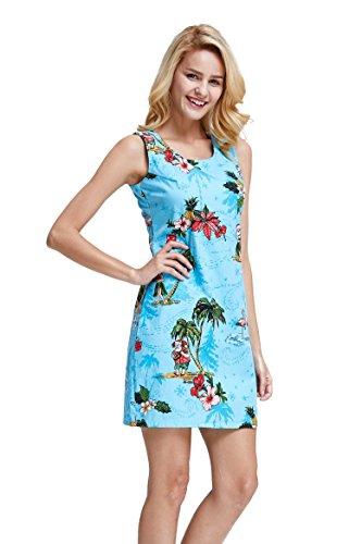 Tropical Tank Dress - Hawaii Hangover Women's Tank Fit Dress XL Christmas Dress Santa Turquoise