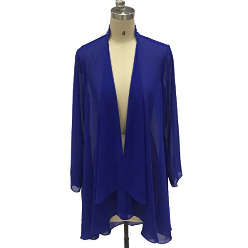 Flybridal Women's Chiffon Shawl Wrap Coats Open Front Cardigan Bolero Shrug Jackets with Beading 20w Royal Blue