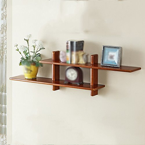 Shelf Solid Wood On The Wall White Walnut Storage Simple Partition Home Decoration Bedroom (Color : Walnut)