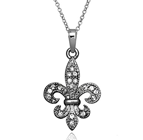 DianaL Boutique Silver Tone Clear Rhinestone Crystal Fleur De Lis Pendant Necklace 18 Inches Stainless Steel Chain