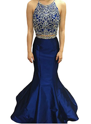 Dressytailor Two Piece Halter Floor Length Mermaid Prom Dress Formal Evening Gown