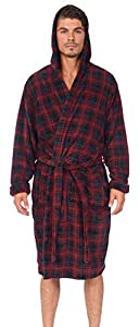 Wanted Men's Bathrobe Hooded Robe Plush Micro Fleece with Front Pockets (Red Plaid, Small/Medium)