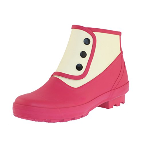 Spats Womens Classic Ankle Spats - Fuschia Pink and Antique White USA 10 (Eu 41) Fuschia Pink / Antique (Spat Boots)