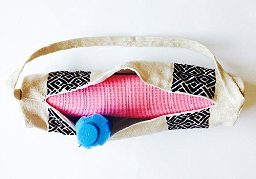 Handarbeit Yogamatte Staubbeutel mit Exquisit entworfene Detaillierte Chippendale Stickerei Muster–Personalisierte Jute Taschen Yoga-taschen–Yoga Tragetaschen–Yogamatte Sling–Yoga Rucksack–Y