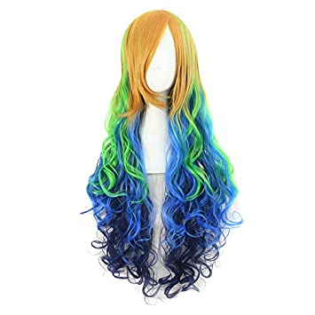 "28"" Long Women Ombre Wigs Rainbow Color Pink Blue Synthetic Hair Cosplay Wig Heat Resistant"