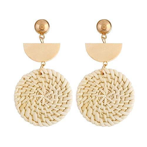 Large Long Boho Disc Earrings Handmade Rattan Statement Geometric Earrings for Women ()