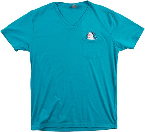 Pocket Hedgehog | Cute, Funny Novelty Vintage Soft Pocket V-neck Unisex T-shirt