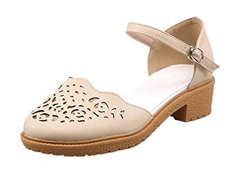 Sandales d'orteil Couleur Bas AalarDom TSFLG005553 Fermeture à Femme Abricot Unie Talon Boucle Zfn41xq
