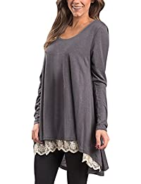 Womens Casual Long Sleeve Layered Tunic Loose Blouse tops...