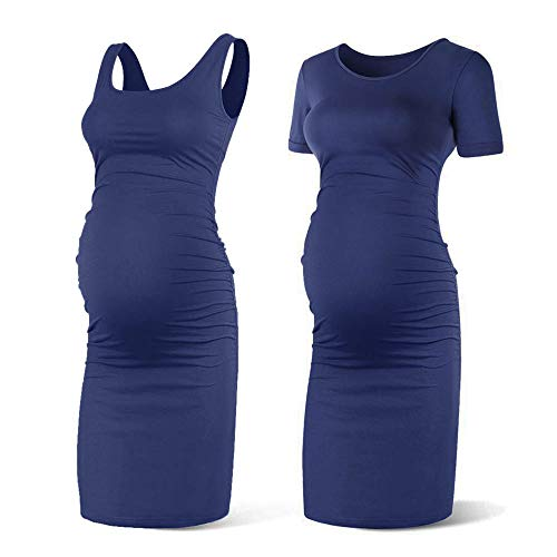 Rnxrbb Women Summer Sleeveless Maternity Dress Pregancy Tank Scoop Neck Mama Clothes Casual Bodycon -