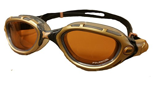 Dr. Goggle Exclusive. Zoggs Predator Flex Polarized (Gold/Black/Smoke L/XL) (Predator Goggles)
