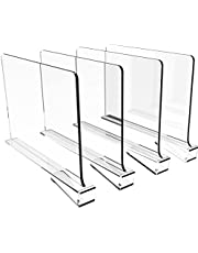 Cq acrylic 4PCS Shelf Dividers for Closets,Clear Acrylic Shelf Divider for Wood Shelves and Clothes Organizer Purses Separators Perfect for Kitchen Cabinets and Bedroom Organizer,Clear