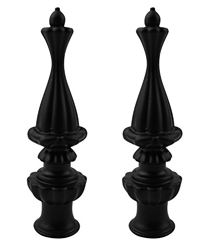 (Urbanest Set of 2 Walton Lamp Finial, 3 3/8-inch Tall, Matte Black)