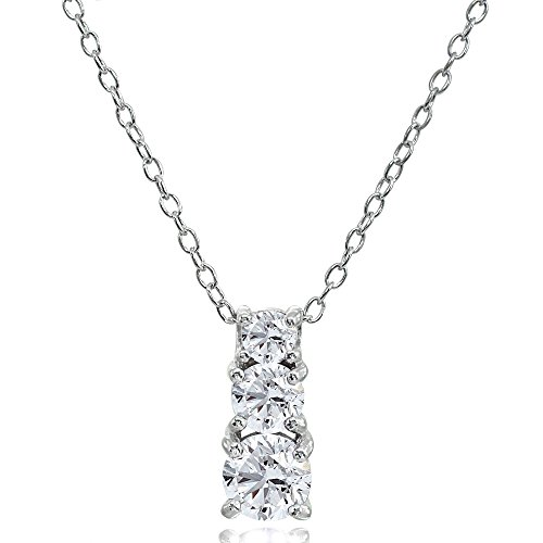 Sterling Silver Cubic Zirconia Round Graduating Three Stone Pendant Necklace