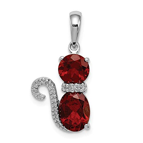 925 Sterling Silver Red Garnet Diamond Cat Pendant Charm Necklace Animal Fine Jewelry Gifts For Women For ()