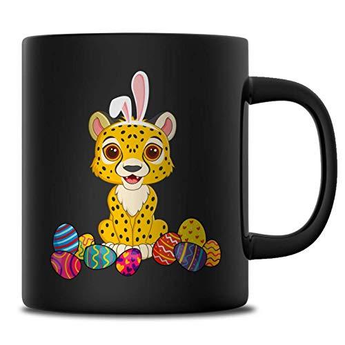 Cheetah Easter Bunny Ears Costume Mug For Women Girls, Happy Easter's Day Lover Mugs, Funny Easter Eggs Gift Ideas, 11 oz Black Mug ()