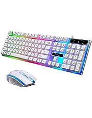 G21 لوحة مفاتيح سلكية USB الألعاب مرنة متعددة الألوان أضواء LED الكمبيوتر الميكانيكية الشعور بالإضاءة الخلفية مجموعة الماوس ، الأبيض