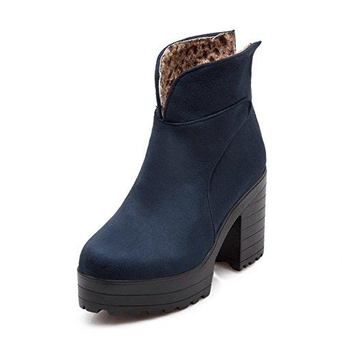 Heels Women's Allhqfashion Blue High Boots Round Suede Zipper Closed Toe Imitated Solid rSddqwxt