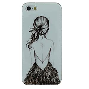 The Back of Girl Sketch Pattern TPU Material Soft Back Cover Case for iPhone 5/5S