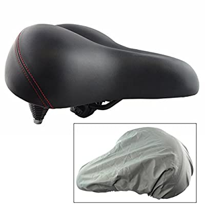 Lumintrail Oversize Wide Comfort Gel Foam Bike Seat w/ Suspension and Bicycle Saddle Cover for Outdoor and Exercise Bikes