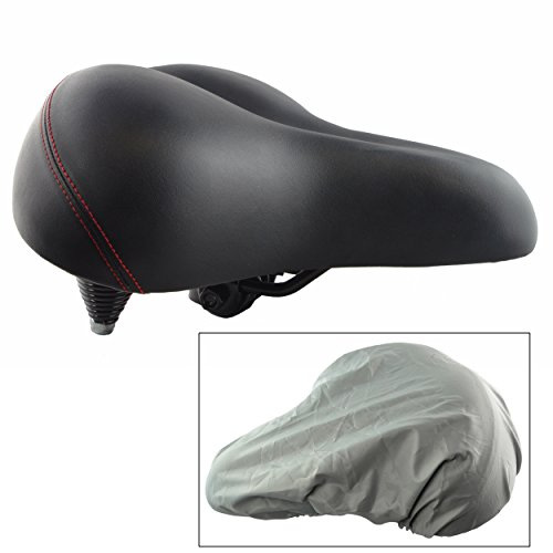 Lumintrail Oversize Wide Comfort Gel Foam Bike Seat w/Suspension and Bicycle Saddle Cover for Outdoor and Exercise Bikes