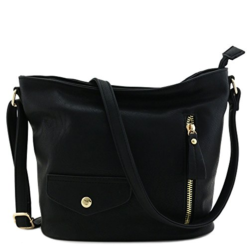 Double Front Pocket Handbag - Double Front Pocket Crossbody Bag Black