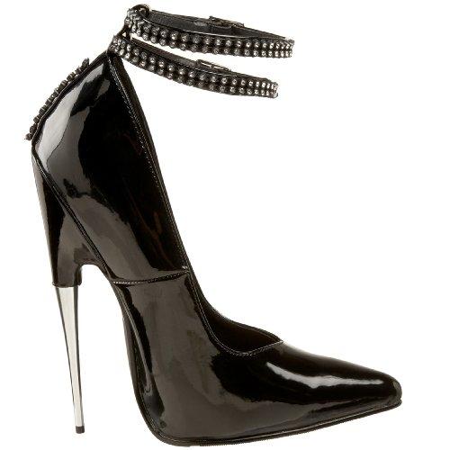 Devious SCREAM-14 Damen Fetish Heels, Lack Schwarz, EU 35 (US 5)