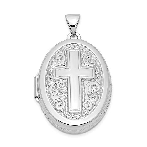925 Sterling Silver Oval Cross Religious Photo Pendant Charm Locket Chain Necklace That Holds Pictures Fine Jewelry Gifts For Women For Her