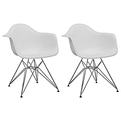 "Ergo Furnishings Mid-Century Eiffel Tower Molded Plastic Armchair Dining Chair Chrome Base (Set of 2), White - UPGRADED: NON-Slip screws provided. Unlike other brands, no more 'tighten on regualar basis'! You know how often you will move these chairs around, our screws will not be loose easily! Deep pocket plastic seat, chromed steel legs, black floor protector Matte finish, 25""W x 24""D x 32""H, Seat height: 18""; Weight capacity: approximately 250lb - patio-furniture, patio-chairs, patio - 41ACDzAZCkL. SS400  -"