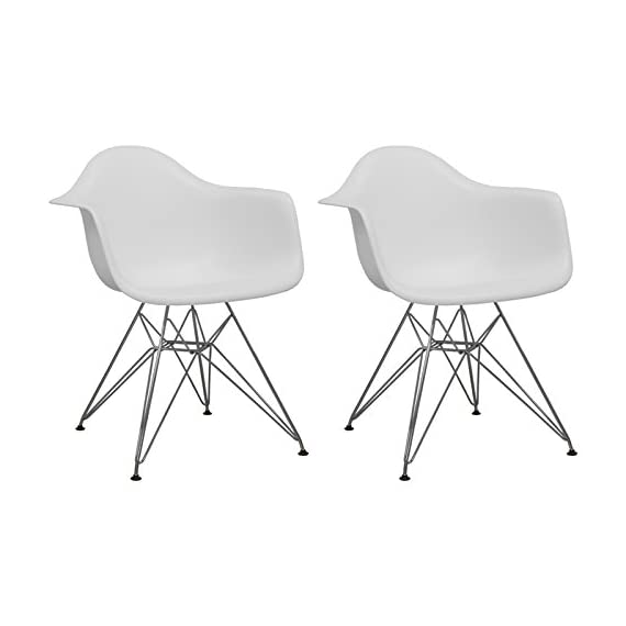 "Ergo Furnishings Mid-Century Eiffel Tower Molded Plastic Armchair Dining Chair Chrome Base (Set of 2), White - UPGRADED: NON-Slip screws provided. Unlike other brands, no more 'tighten on regualar basis'! You know how often you will move these chairs around, our screws will not be loose easily! Deep pocket plastic seat, chromed steel legs, black floor protector Matte finish, 25""W x 24""D x 32""H, Seat height: 18""; Weight capacity: approximately 250lb - patio-furniture, patio-chairs, patio - 41ACDzAZCkL. SS570  -"