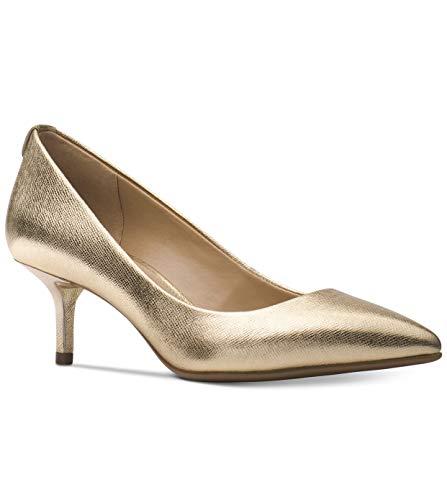 Michael Michael Kors MK Flex Kitten Heel Pumps Metallic Leather Gold Size 9