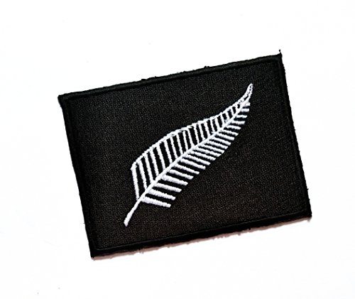 2'' X 2.7'' New Zealand the Silver Fern Flag logo jacket t-shirt Jeans Polo Patch Iron on Embroidered Logo Sign Badge music patch by Tour les jours (Fern Patch)