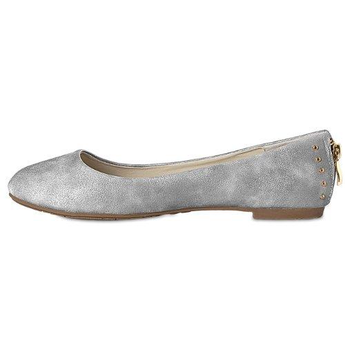 Argento Ballerine Accessoires CASPAR donna amp; Taschen wpRvq7A