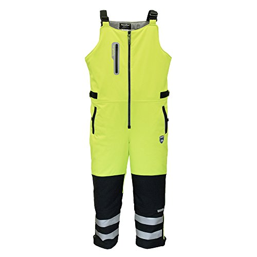 Refrigiwear Men's Insulated Hivis Extreme Softshell Bib Overalls - ANSI Class E High Visibility Lime with Reflective Tape X-Large (Ansi Class 3 Overalls)