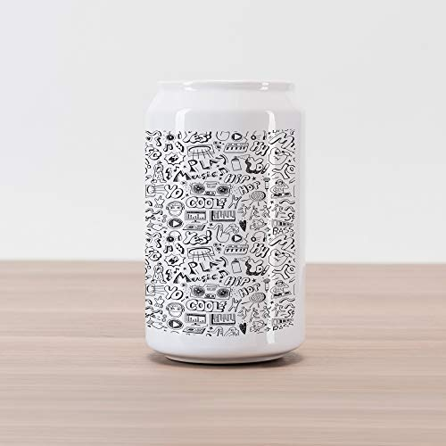 Lunarable Rap Cola Can Shape Piggy Bank, Music Pattern with Variety of in Sketch Style Party Time Hip Hop Culture, Ceramic Cola Shaped Coin Box Money Bank for Cash Saving, Black and White