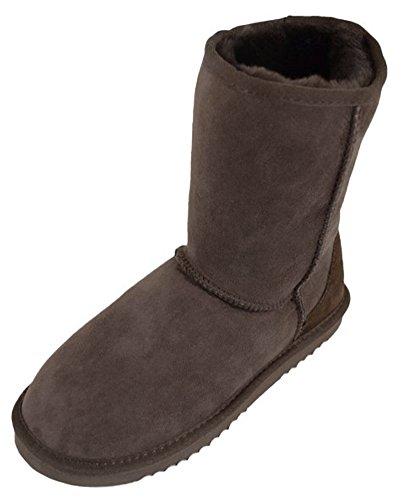 Boots Length Calf Lambland Short Genuine Ladies Sheepskin Brown w1wq8z