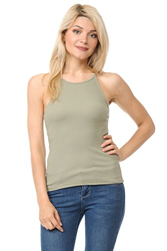 (Re.Born (RBWT031_69319 Womens Basic Sexy Ribbed High Neck Spaghetti Strap Summer Racerback Camisole Tank Top Sage L)