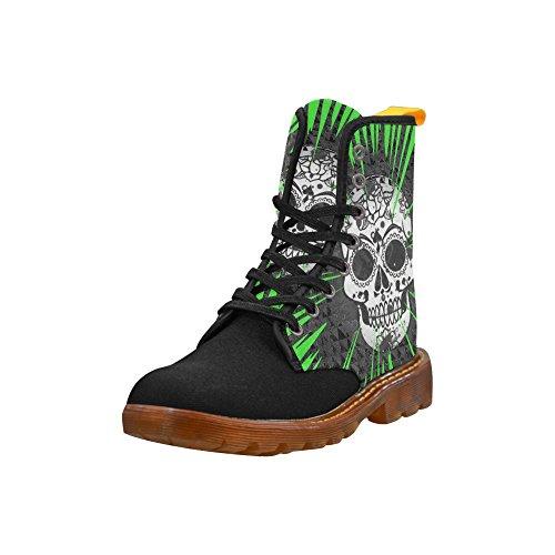 Leinterest Skull E Green Martin Boots Moda Scarpe Da Donna