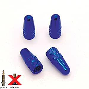 Lote de 4 tapas de válvula Presta de aluminio para neumáticos de bicicleta, moto o coche-Ref08, color azul