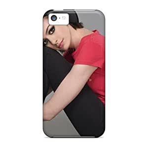 LJF phone case LatonyaSBlack Snap On Hard Case Cover Anne Hathaway Actress Hat Female Celebrities Protector For iphone 5/5s