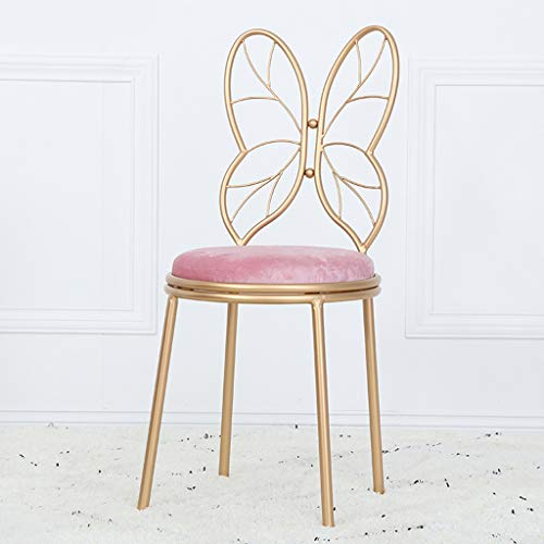 (Flowing Water Iron Stool Simple Style with Backrest Butterfly Stool Coffee Shop Household Make Up Hight Bar Chair Leisure Chair,Pink)