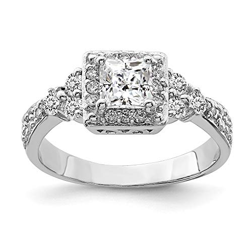 (925 Sterling Silver Square Cubic Zirconia Cz Band Ring Size 7.00 Fine Jewelry Gifts For Women For Her)