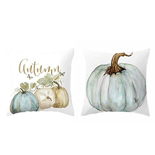 Pumpkin Throw Pillow Cover Halloween Cushion Case with Zipper 18 x 18 inch Cotton Linen Autumn Fall Home Decor (Set of 2)