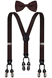 CEAJOO brown mens suspenders brown suspenders and bow tie set brown bow tie Brown