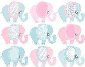 Gender Reveal Baby Shower Pink and Blue Elephants Designer Strips - Edible Cake Side Toppers (3 -