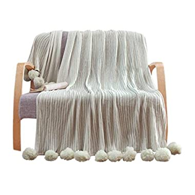 LIFEREVO 100% Cotton Hypoallergenic Striped Cable Knitted Throw Blanket Pompoms Fringe Solid (50 X60 , Gray)