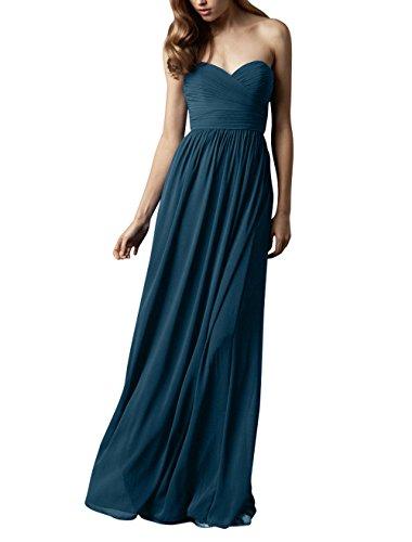 Elegant Blau Abschlussballkleider Herzausschnitt La Partykleider Lang Abendkleider mia Tinte Brau Brautjungfernkleider Chiffon Ufx4A