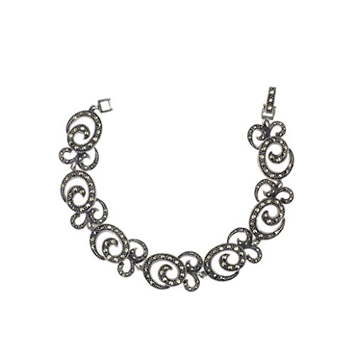 Sterling Silver Marcasite Pave Marcasite Rope with Triple Swirl Link Bracelet by Silver Empire Jewelry